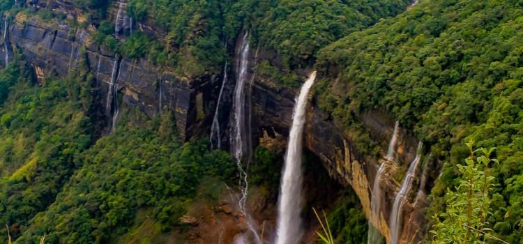 The multi-tiered Elephant Falls in Meghalaya